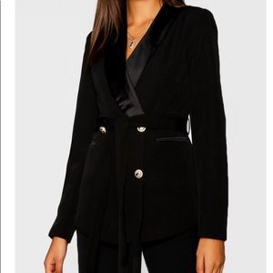 Boohoo Tall Black Satin Lapel Tie Waist Jacket 8